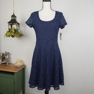 Allison Brittney Navy Lace Eyelet Dress sz M
